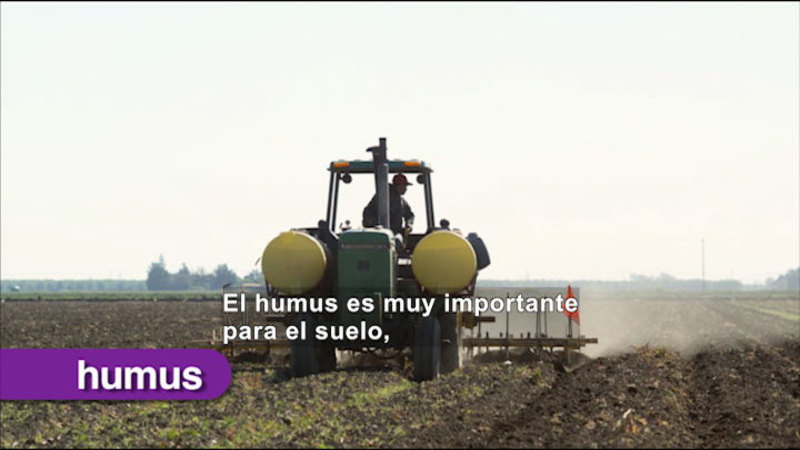 Man riding a tractor in a field. Spanish captions.