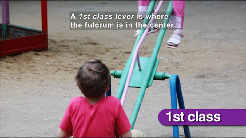 Children on a teeter totter. Caption: A 1st class lever is where the fulcrum is in the center,