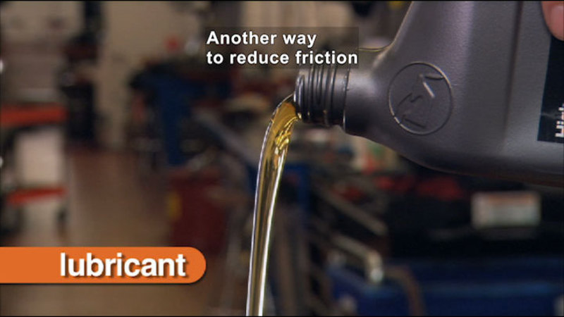 Oil being poured out of a container. Caption: Another way to reduce friction