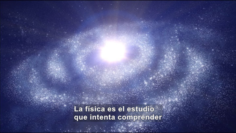 Stars swirling around the sun. Spanish captions.