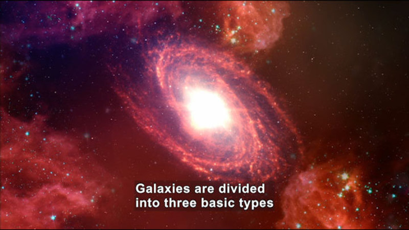 Swirling red galaxy. Caption: Galaxies are divided in three basic types