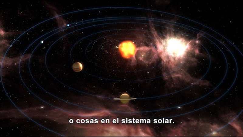 Still image from Science Video Vocab: Solar System (Spanish)