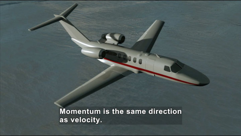Small airplane midflight. Caption: Momentum is the same direction as velocity.