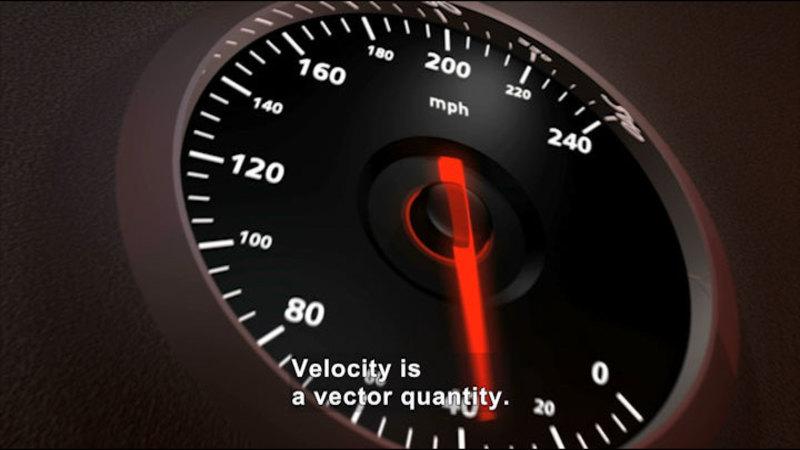 Speedometer. Caption: Velocity is a vector quantity.