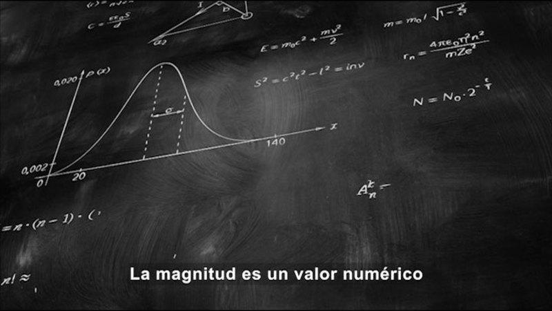 Math equations written on a chalk board. Spanish captions.