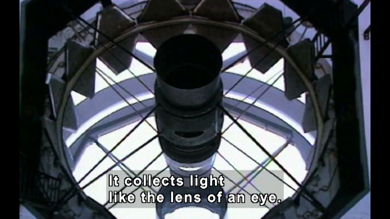 Internal view of a telescope. Caption: It collects light like the lens of an eye.