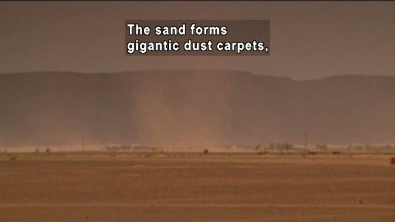 In foreground a flat, barren landscape with a large cloud of dust. In the background there are some out-of-focus hills. Caption: The sand forms gigantic dust carpets,