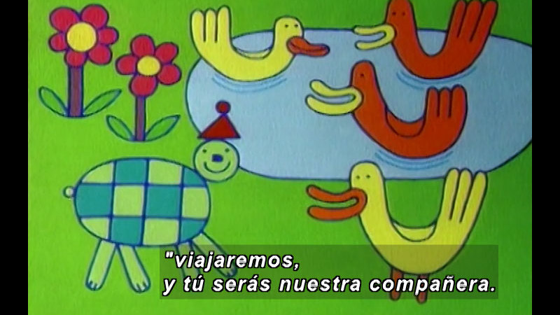 Still image from Kool Books: The Turtle And The Ducks (Spanish)