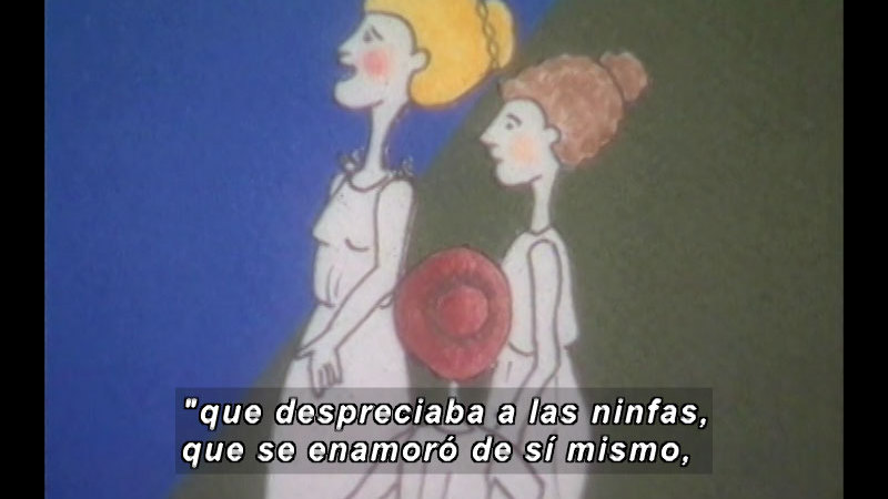 Illustration of three people talking. Spanish captions.