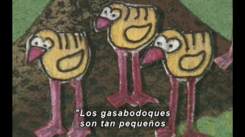 Illustration of some birds with long legs and yellow bodies. Spanish captions.