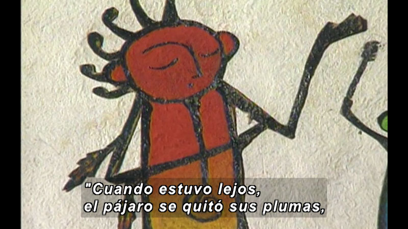 Illustration of a human-like insect figure. Spanish captions.