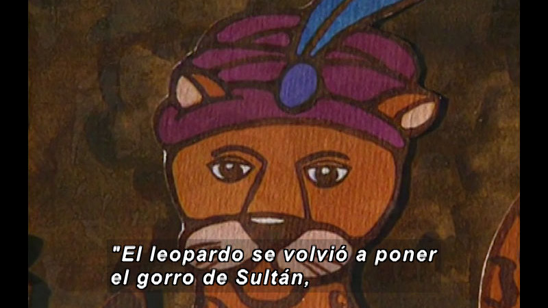 Illustration of a leopard wearing a turban with a jewel and a feather in it. Spanish captions.