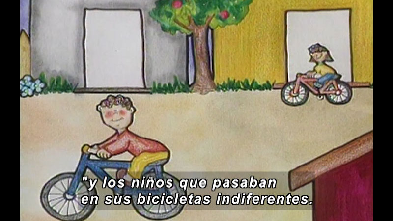 Illustration of two children riding bikes in front of a house. Spanish captions.