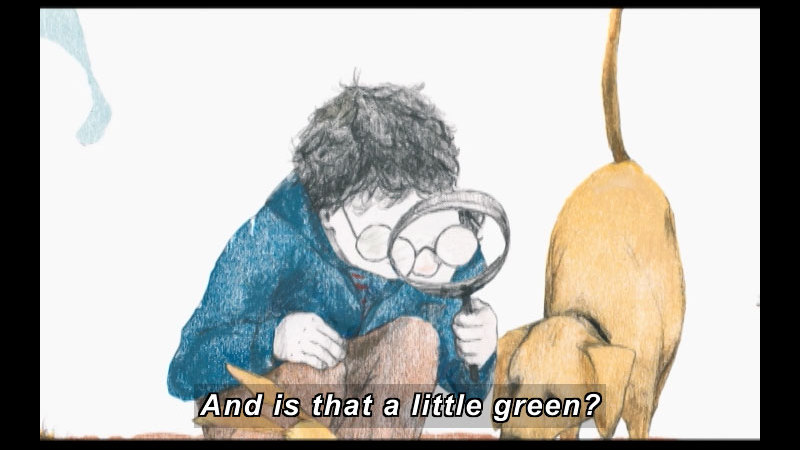 Illustration of a boy holding a magnifying glass to his eye and looking down with a dog next to him. Caption: And is that a little green?