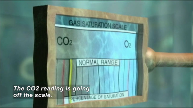 Gas saturation scale showing CO2 and O2 percentage of saturation. Indicator is outside of normal range on the CO2 side. Caption: The CO2 reading is going off the scale.