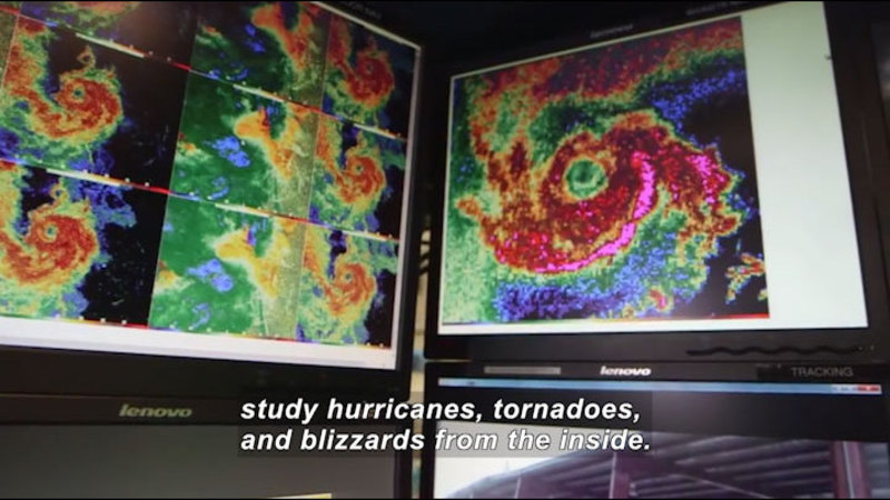 Computer screens with color-shaded images of a spiral shaped storm. Caption: study hurricanes, tornadoes, and blizzards from the inside.