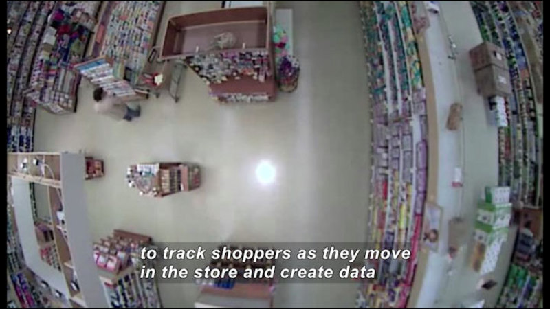 Ceiling security camera footage showing store aisles. Caption: to track shoppers as they move in the store and create data