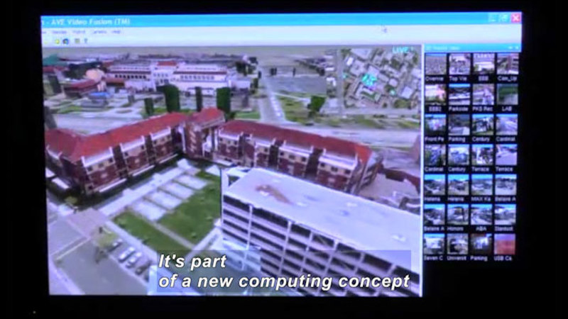 Computer screen showing the aerial view of a multi-story building and thumbnail views of other buildings. Caption: It's part of a new computing concept