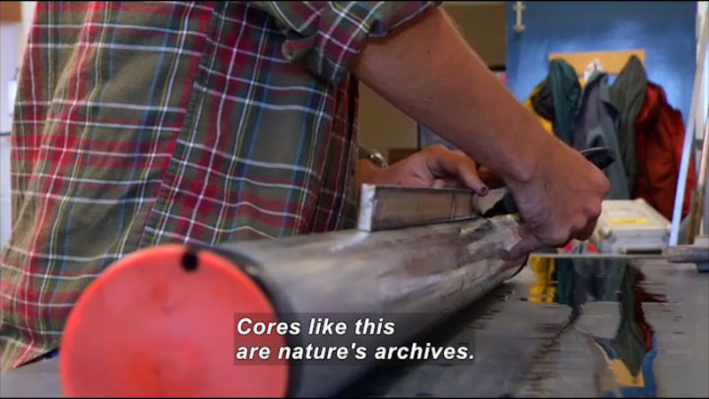 Person drawing a straight line down the side of a metal cylinder. Caption: Cores like this are nature's archives.