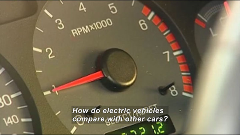 Gauge in a vehicle with a range of 0 to 8. The indicator is at 1 and the gauge is labeled RPMx1000. Caption: How do electric vehicles compare with other cars?