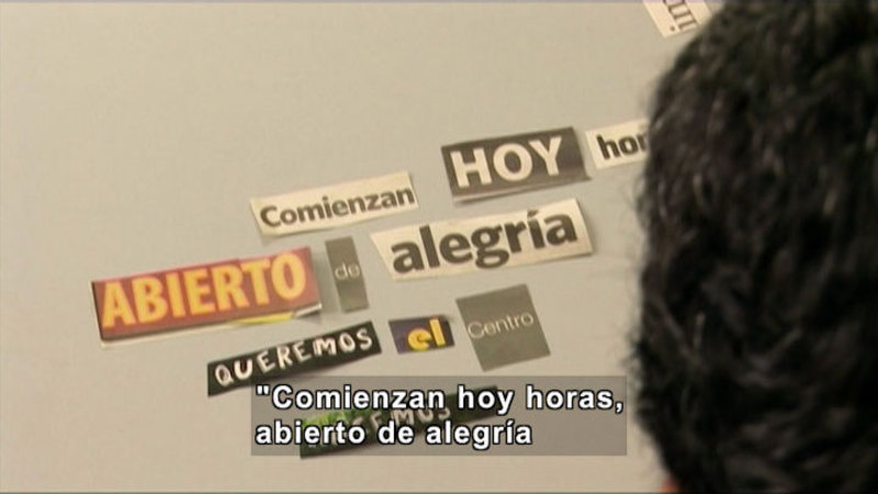 Word cut out from different print sources, arranged in phrases. Spanish captions.