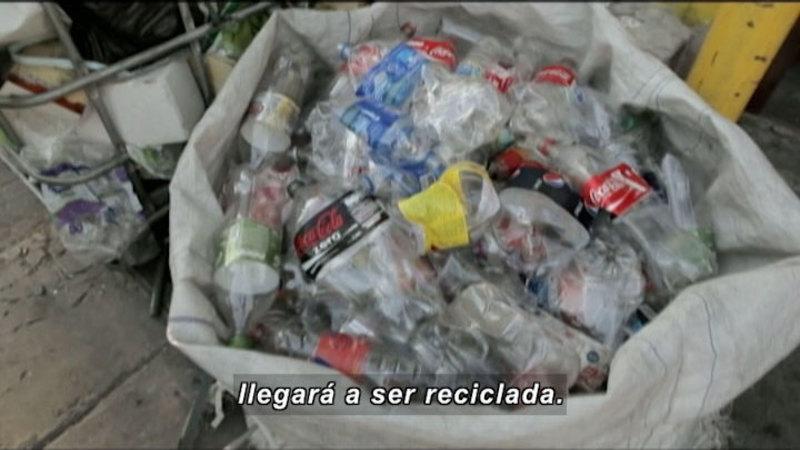Large sack of crushed plastic soda bottles. Spanish captions.