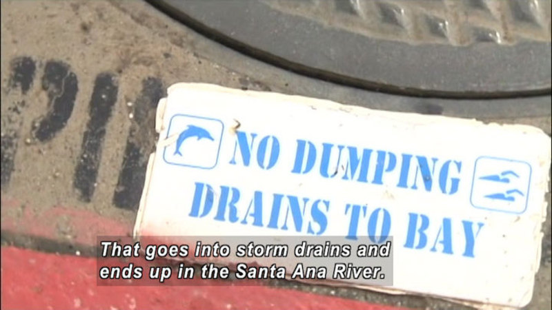 """Edge of a manhole cover with """"No Dumping Drains to Bay"""" printed on the ground. Caption: That goes into storm drains and ends up in the Santa Ana River."""