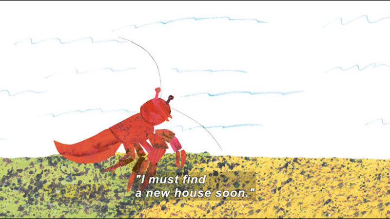 A hermit crab with no shell walking along the ocean floor as fish swim behind. Caption: I must find a new house soon.'