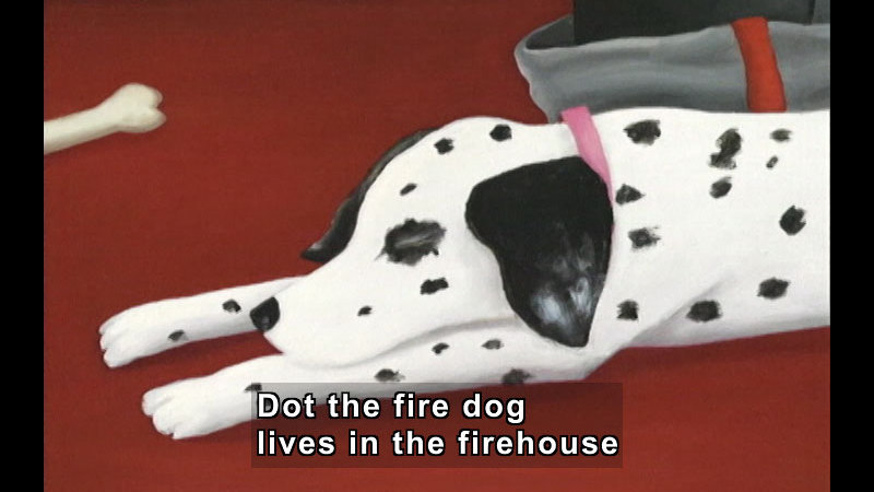 Illustration of a dalmatian sleeping on the floor, upper body visible. Caption: Dot the fire dog lives in the firehouse