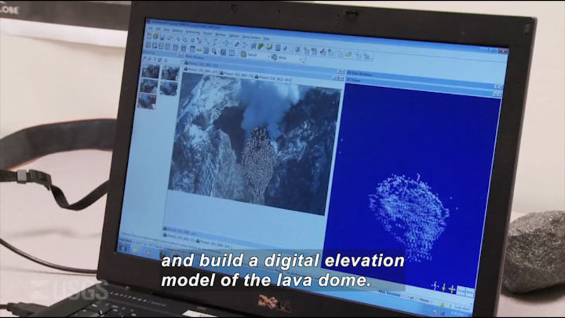 Laptop computer showing a split screen of a picture and a computer image. Caption: and build a digital elevation model of the lava dome.