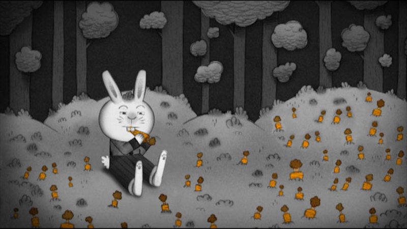 Illustration of a rabbit eating a carrot, wearing pants and a shirt, sitting in a field of carrots.
