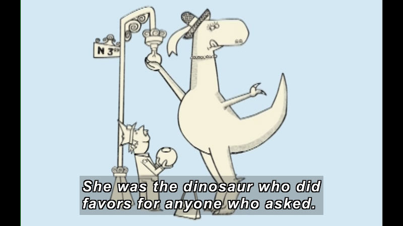 A large dinosaur wearing a hat and a necklace changes the lightbulb on a streetlamp while a police officer stands next to her holding the light cover. Caption: She was the dinosaur who did favors for anyone who asked.