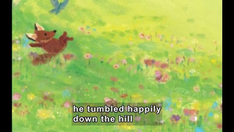 Illustration of a fox rolling down a grass and wildflower covered hill. Caption: he tumbled happily down the hill