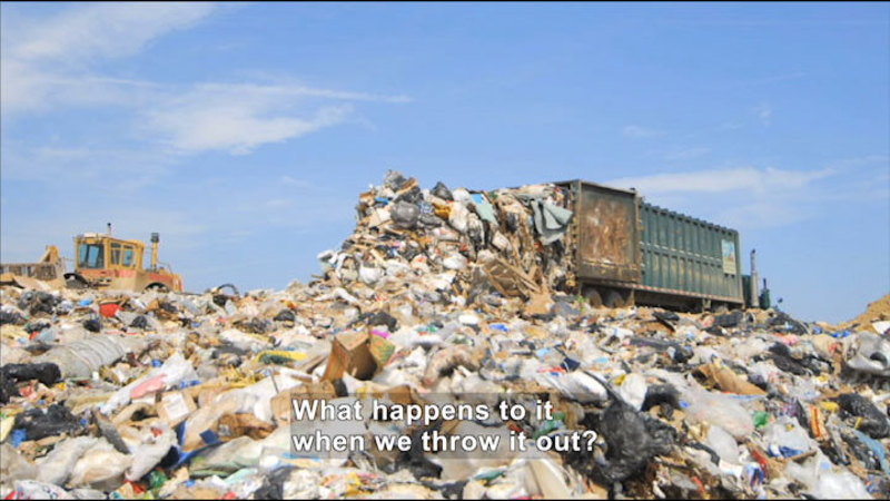 Large truck dumping a load of trash into a landfill. Caption: What happens to it when we throw it out?