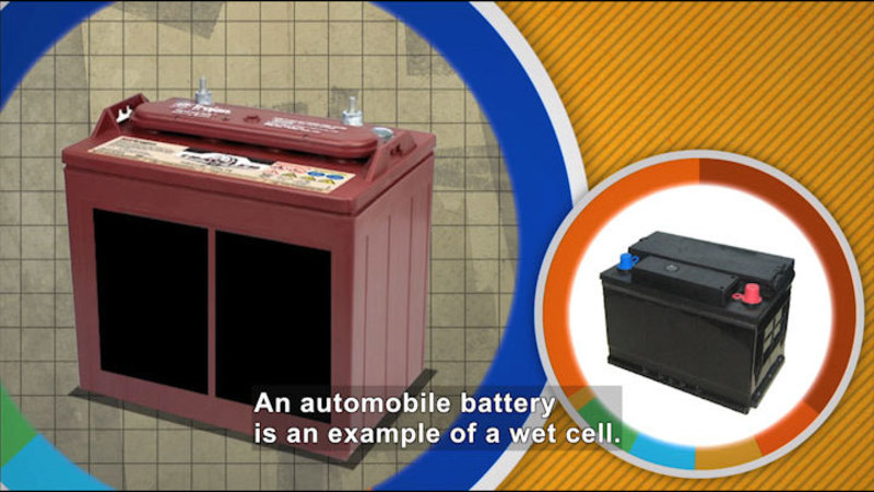 Two rectangular batteries with positive and negative leads. Caption: An automobile battery is an example of a wet cell.