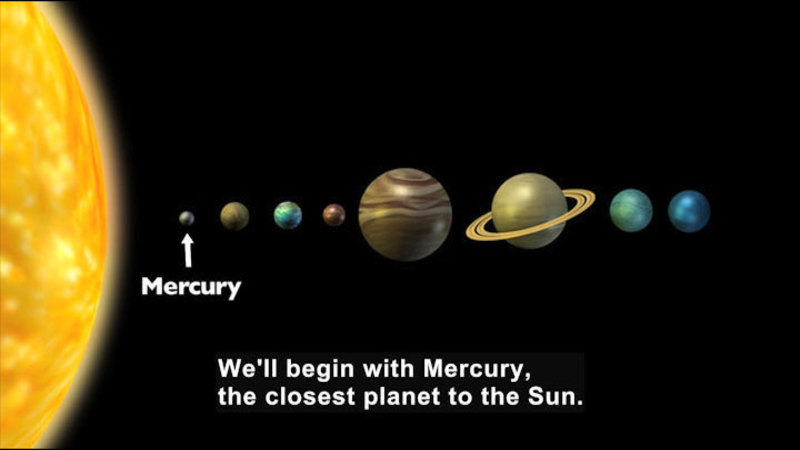 The planets of our solar system in a line. Caption: We'll begin with Mercury, the closest planet to the Sun.
