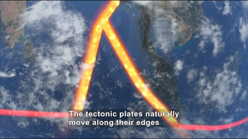 Land and ocean as seen from above with tectonic plates outlined. Caption: The tectonic plates naturally move along their edges