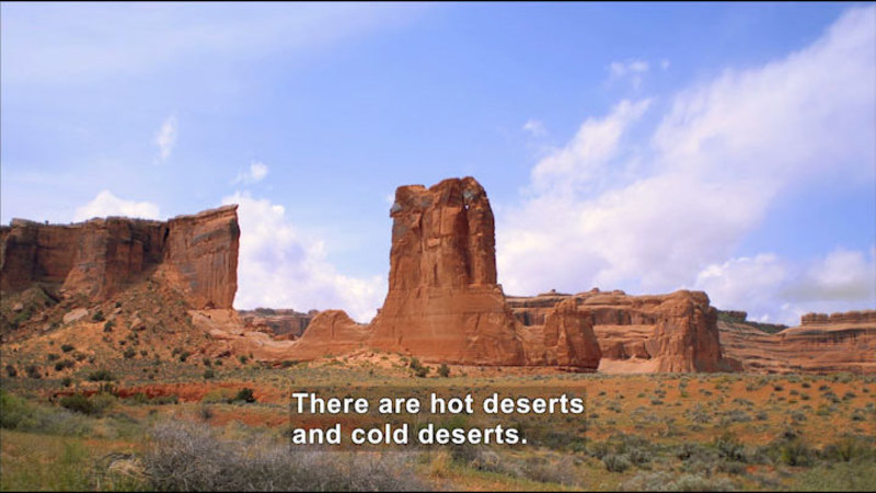 Desert with low scrub and red rock formations rising in the distance. Caption: There are hot deserts and cold deserts.
