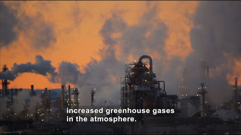 Industrial plant with smokestacks emitting pollutants. Caption: Increased greenhouse gases in the atmosphere.