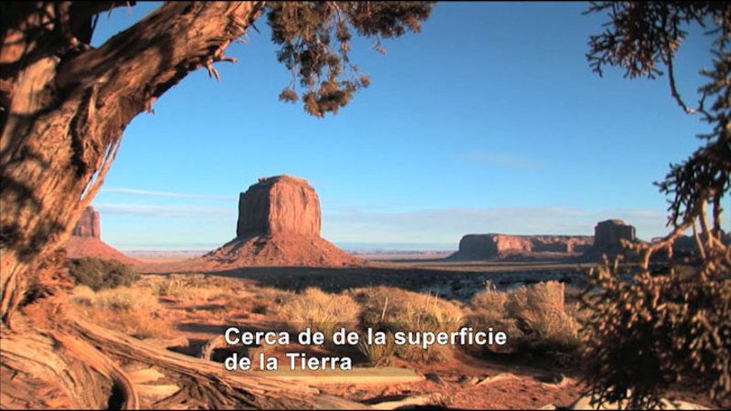 Desert with a tree in the foreground, low scrub and red rock formations rising in the distance. Spanish captions.