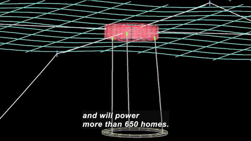 Illustration of an energy source on a grid. Caption: and will power more than 650 homes.