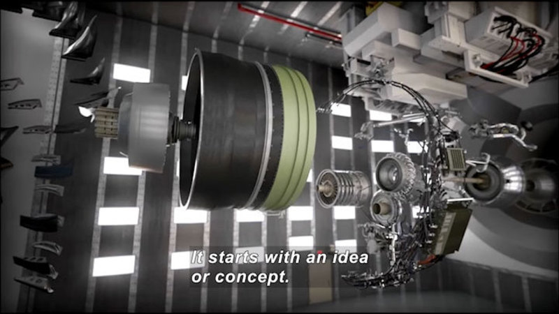 Extremely complex machine with interconnected cylindrical objects and wiring harnesses. Caption: It starts with an idea or concept.