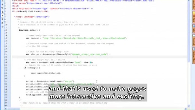 Still image from: Developing a Website